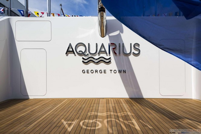 Superyacht AQUARIUS at her Launch -  Aft Deck - image by Feadship