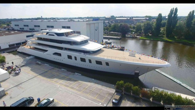 Superyacht AQUARIUS at her Launch - Above View image by Feadship