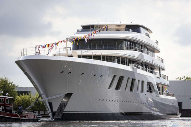 Superyacht AQUARIUS at her Launch - image of bow by Feadship