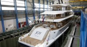 Yacht Joy aft before launch at Feadship (2)