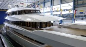 Yacht Joy foredeck and flowers before launch at Feadship (2)