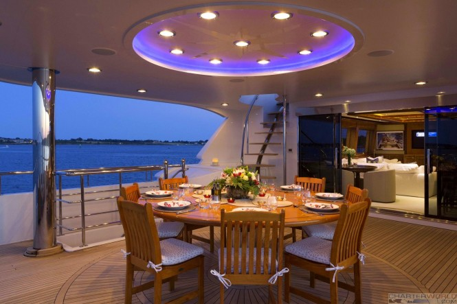 Luxury yacht FAR FROM IT - alfresco dining on the skydeck