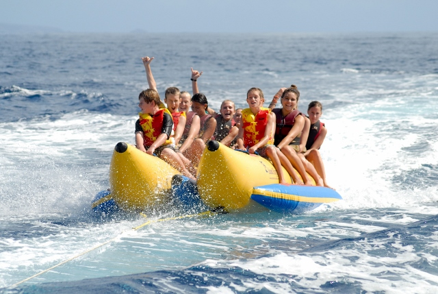 the banana boat ride Banana ride departing from sea isle marina, we head right on to our playground on the bay to receive a ride full of adrenaline our banana boat is pulled by a jet ski driven by one of our experienced captains.