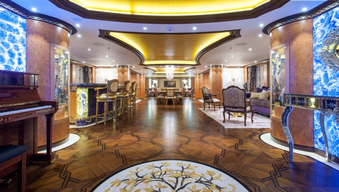Superyacht Solandge. Main Deck Saloon. Photo credit Klaus Jordan