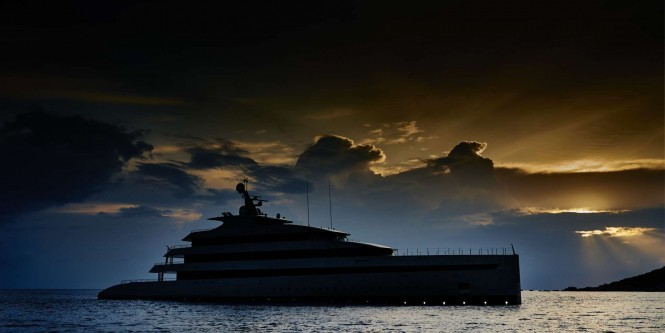 Motor yacht Savannah in the evening with tropical sunset - image is copyright Feadship