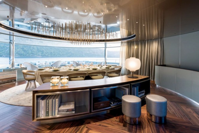 Dedicated dining space aboard M/Y SAVANNAH from Feadship