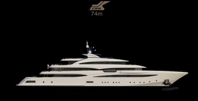 Rendering of the 74m mega yacht CRN Cloud 9