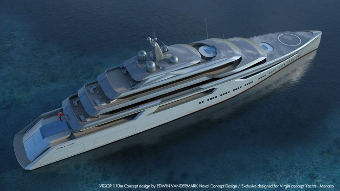 110m explorer yacht VIGOR concept from above. Image credit: Virgin Concept Yachts Monaco
