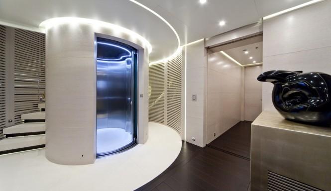 Elevator connecting decks on superyacht BARAKA