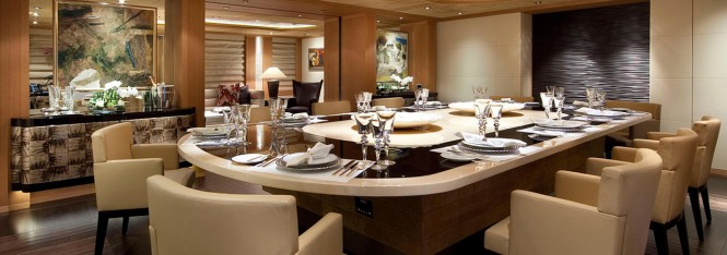 Superyacht Sunrays. Main deck dining room. Photo courtesy of Oceanco.