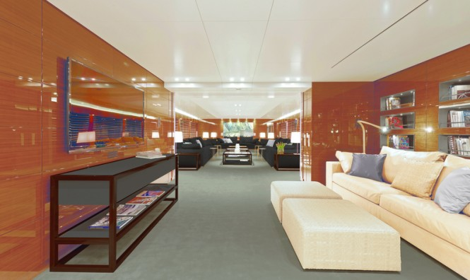 Media room and main salon aboard M/Y SILVER FAST