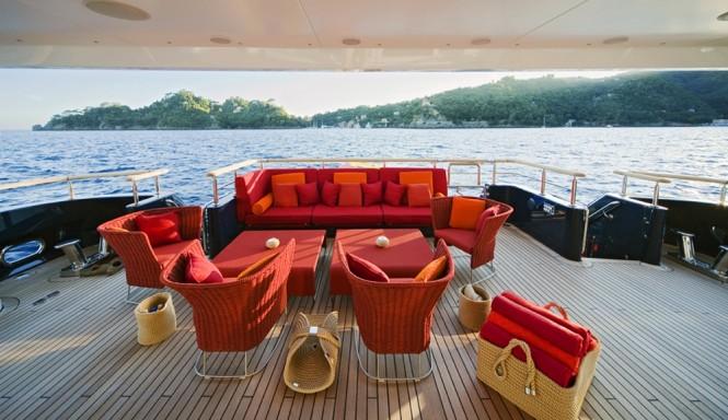 Outdoor lounging aboard the luxurious yacht BARAKA