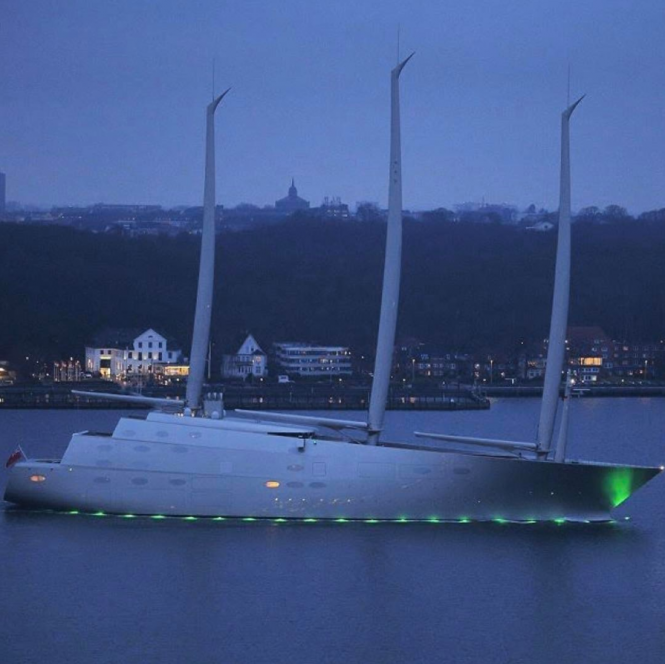 Great photo of Sailing yacht A glowing in the dark. Photo by Bancroft images