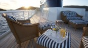 Breakfast on the sundeck bow aboard classic yacht SEAWOLF