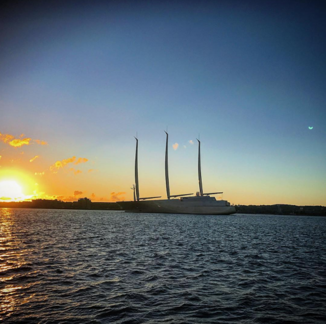 Sailing yacht A spotted in Kiel, Germany by @dochempel