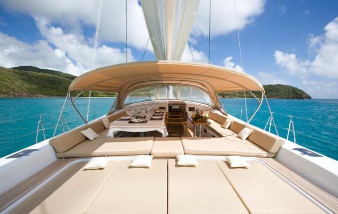 Sailing yacht RAPTURE - Alfresco dining and sunpads surrounding the cockpit