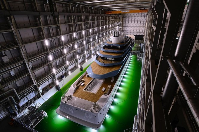 Superyacht Jubilee in the Oceanco Shed before launch as the largest Dutch private pic by Francisco Martinez
