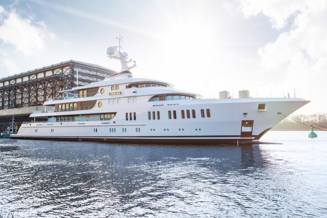 74m Mega Yacht AURORA - Project GATSBY - hits water at Lurssen shipyard in Germany - Photo credit to Lurssen