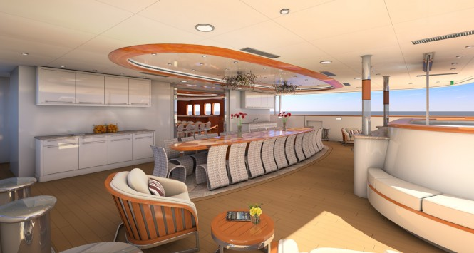 Aft deck rendering of motor yacht LEGEND