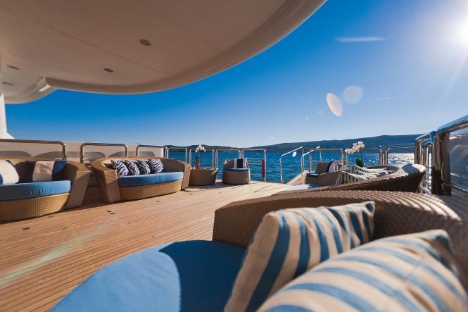 Aft deck view of catamaran SPIRIT