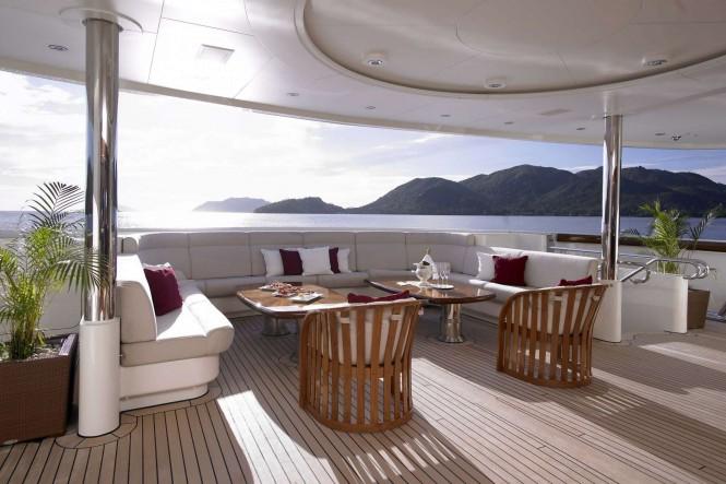 Al fresco on the main deck of luxury yacht ANNA - Photo credit Feadship
