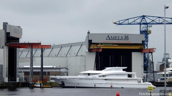 Amels Holland's Limited Edition 188 with yard number 18801 on its way to the dry dock. Photo by Dutchmegayachts.