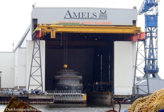 Amels Holland's Limited Edition 242 with yard number 24203 just after entering the dry dock. Photo by Dutchmegayachts