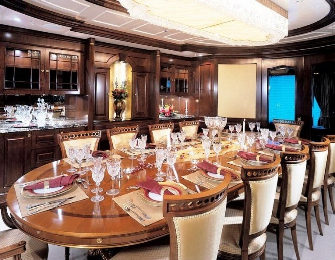 Celebrate a special occasion in the lavish formal dining room aboard luxury yacht MUSTIQUE
