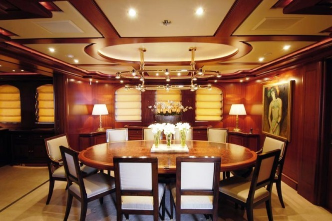 Dining room - sailing yacht Athena - one of the largest charter yachts in the world