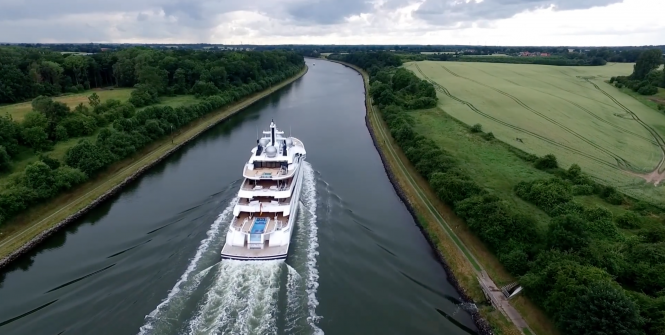 Drone Footage - motor yacht Amadea. Photo credit AS-Flycam-Kiel.de:Andreas Schuster