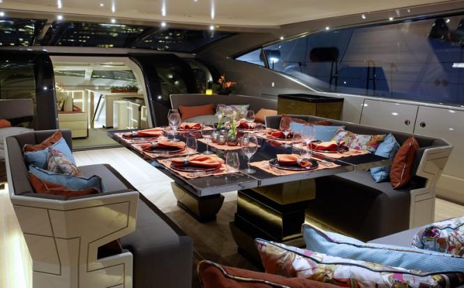 Formal dining aboard luxury yacht GANESHA
