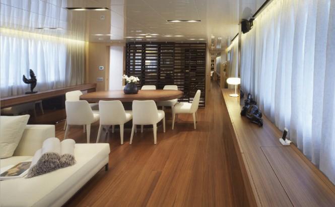 Formal dining aboard luxury yacht INDIGO