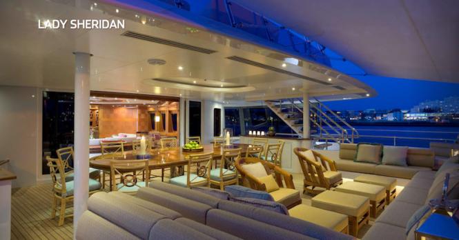 Luxury yacht LADY SHERIDAN - Alfresco seating and dining. Photo credit Abeking & Rasmussen