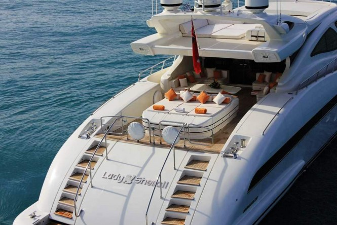 Main deck aft sunpads and lounging area aboard M/Y INCOGNITO