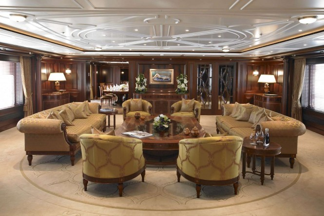 Main salon aboard superyacht ANNA - Photo credit Feadship