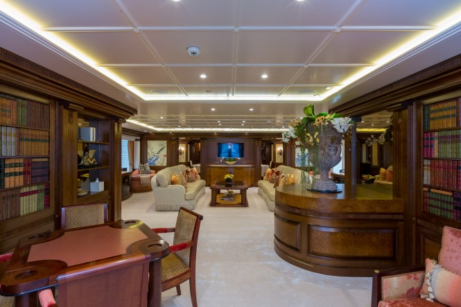 Main salon aboard superyacht CALYPSO