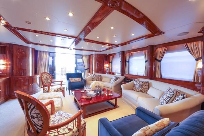 Main salon aboard superyacht DXB