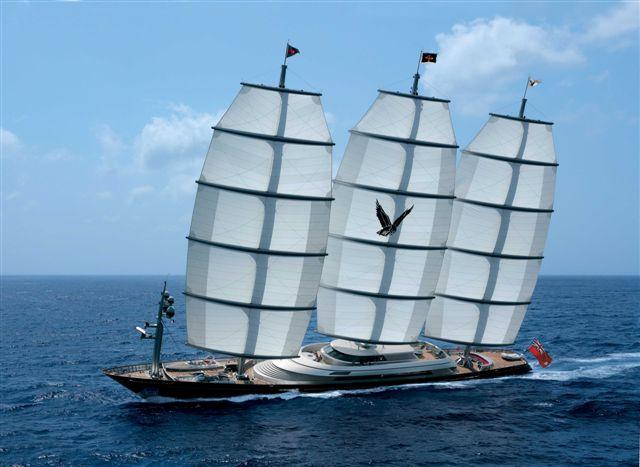 Maltese Falcon under sail in front of Viareggio