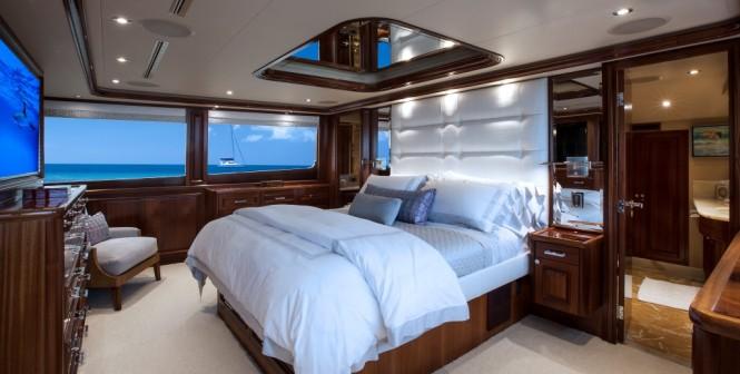 Master suite aboard luxury yacht KEMOSABE