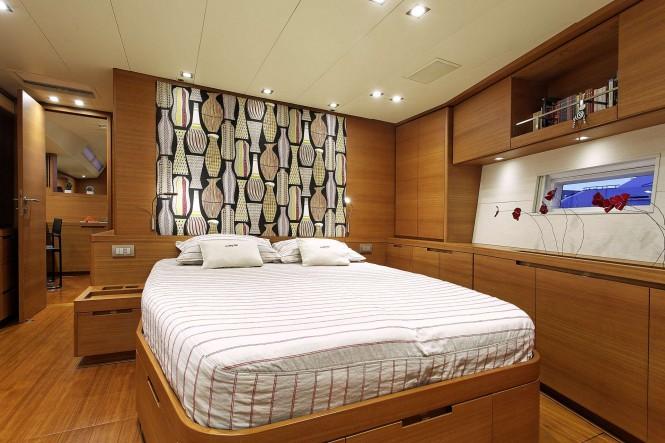 Master suite aboard luxury yacht MRS MARIETTA CUBE