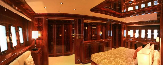 Master suite aboard motor yacht INCOGNITO