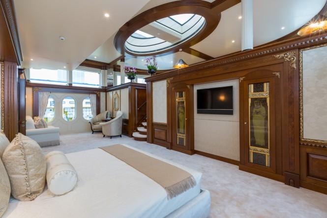Master suite aboard superyacht CALYPSO