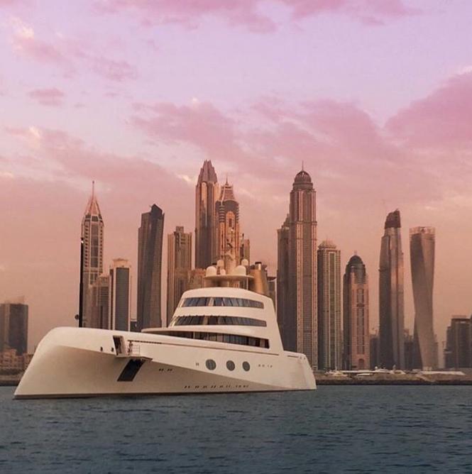 Motor yacht A in Dubai. Photo credit: @stephanie_m and @steveboy87