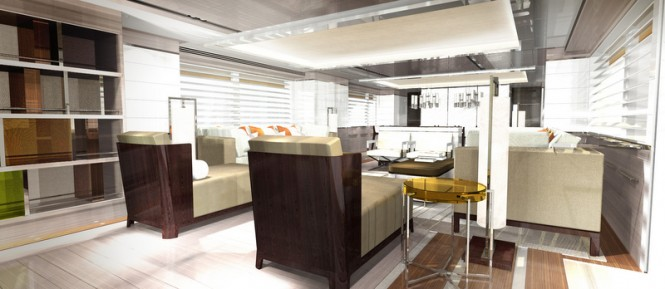 Motor yacht ASYA - Main salon. Photo credit: Omega Architects