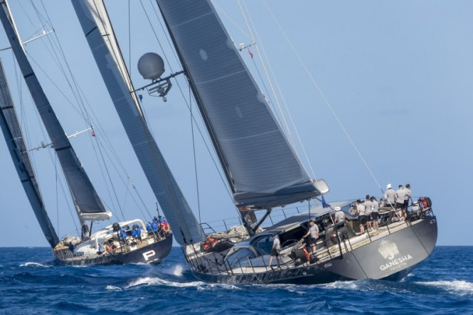 P2 and Ganesha clash in Class B at the Loro Piana Caribbean Superyacht Regatta & Rendezvous 2017.