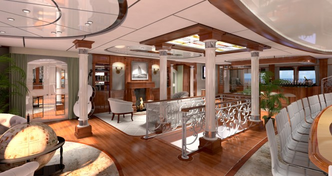 Rendering of the main salon aboard explorer yacht LEGEND