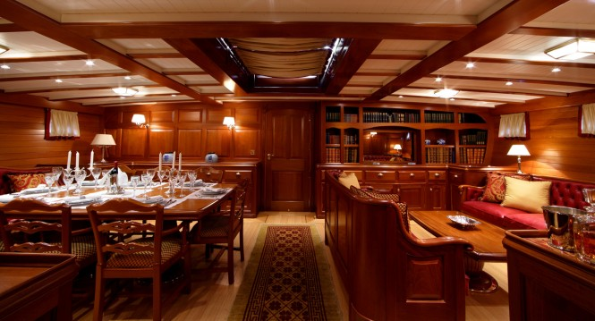 Sailing yacht ELENA - Main salon and formal dining area