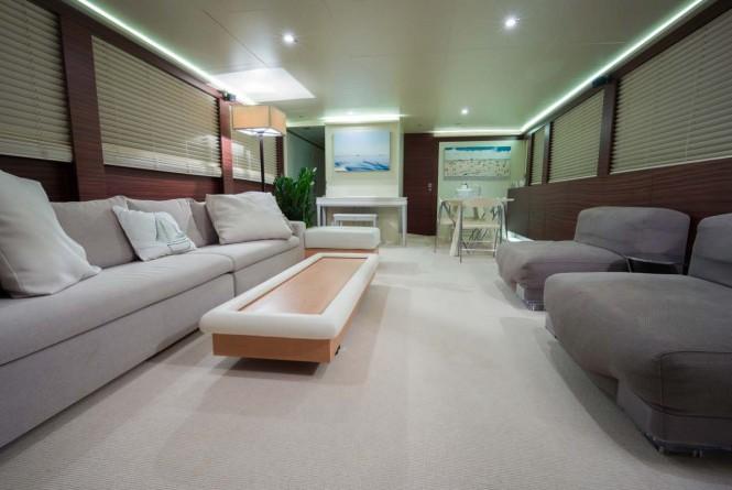 Salon aboard luxury yacht NASHIRA