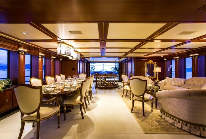 Salon and dining area aboard motor yacht SEANNA