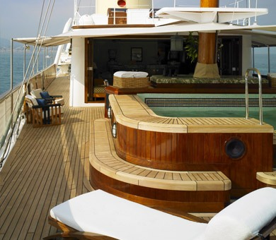Spa pool on the upper deck of luxury yacht TALITHA